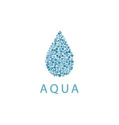 Water drop mockup logo small vibrant blue bubbles vector image
