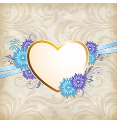 Vintage background with golden heart vector