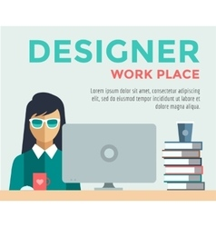 Designer on work place logo vector