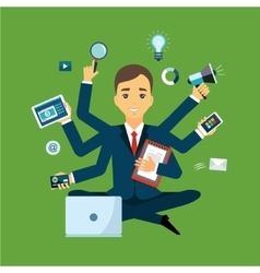 Businessman with multitasking and multi skill vector