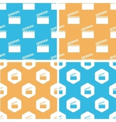 Clapperboard pattern set colored vector