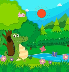 Crocodile sitting by the river vector