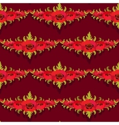 Seamless pattern garland of poppies on burgundy vector