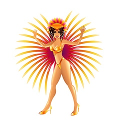 Brazilian carnival girl isolated on white vector