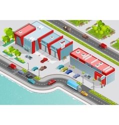 Auto service isometric composition vector