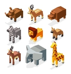 Isometric 3d african savannah animals flat vector