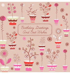 Birthday card with flowers vector
