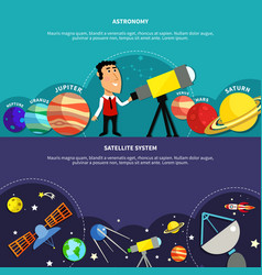 Astronomy banners set vector