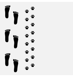 Bare foot print and paw print on the left vector