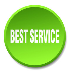 Best service green round flat isolated push button vector