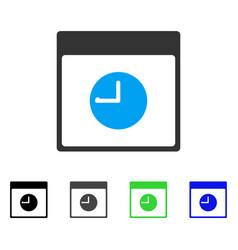 Clock calendar page flat icon vector