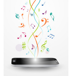 Colorful music notes out of smart phone vector