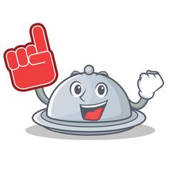 Foam finger tray character cartoon style vector