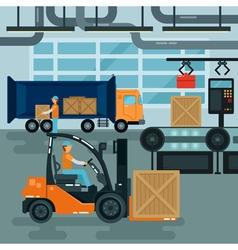 Forklift Inside Factory Cargo Industry Heavy vector image vector image