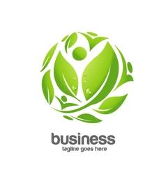 green circle logo concept vector image