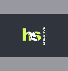 green letter hs h s combination logo icon company vector image vector image