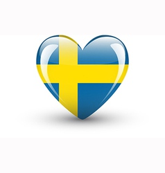 Heart-shaped icon with national flag of Sweden vector image