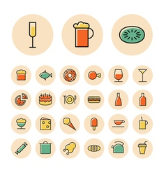 Icons thin red food sweets vector