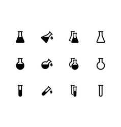 Lab flask icons on white background vector image vector image