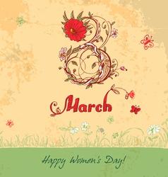 March 8 vintage card vector image