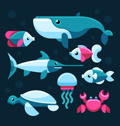 ocean salt sea fishes set vector image
