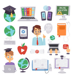 online education languages school and travel vector image