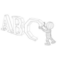 Puppet 3d man holding abc vector