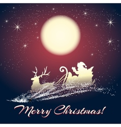 Santa Claus on Sleigh with Reindeer vector image vector image