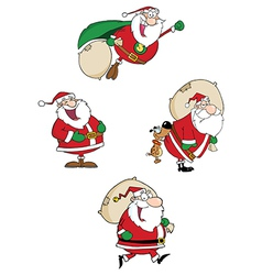 Santa Claus Waving A Greeting Collection vector image vector image
