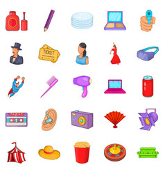 Screen icons set cartoon style vector