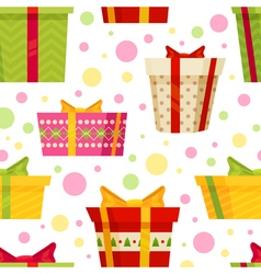 Seamless cartoon pattern with gift boxes vector