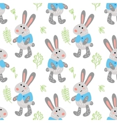 Seamless pattern with cute rabbits vector
