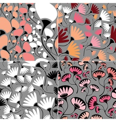 Set of four floral seamless vector