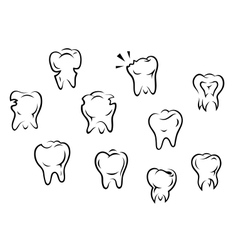 Set of health and illness teeth vector image