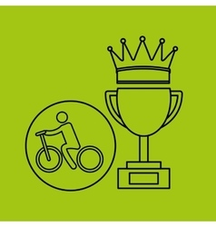 silhouette person cyclist winner sport vector image