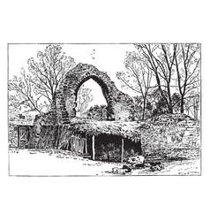 St pancras church ruins canterbury vintage vector