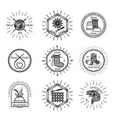 Vintage handmade badges and logo vector image