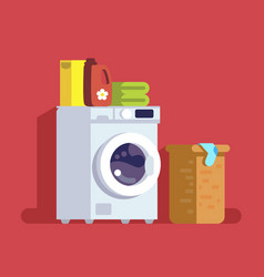 Washing machine with basket vector