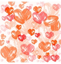 Watercolor heart pattern Valentines day vector image