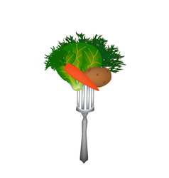 world vegan day vegetables on a fork vector image