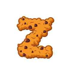 Z letter cookies cookie font oatmeal biscuit vector