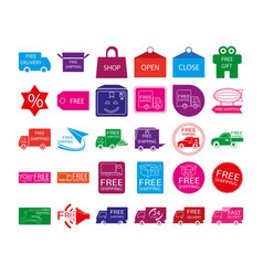 Free shipping label icon set vector