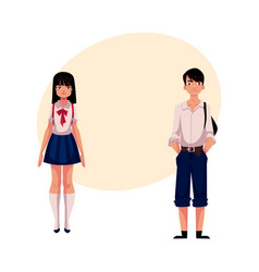 Typical teenage japanese students schoolgirl and vector