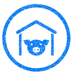 Pig farm rounded grainy icon vector