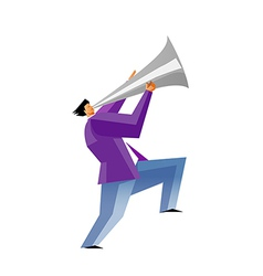 Side view of man holding megaphone vector