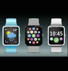 Smart watches with app icons and widgets vector