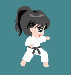 A girl play martial art karate vector