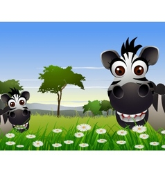 Cute zebra cartoon with nature background vector