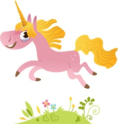 Cartoon pink unicorn vector image