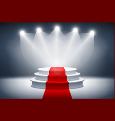 3d Illuminated stage podium with red carpet for vector image vector image